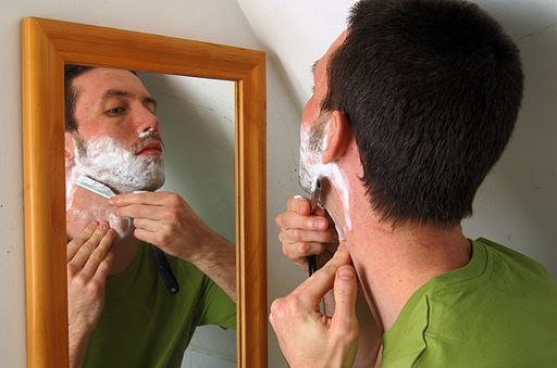 shaving with a straight razor under the chin